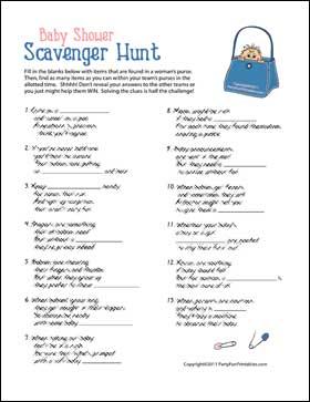 Baby Shower Scavenger Hunt