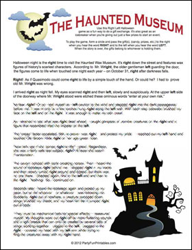 Haunted Museum Left Right Game Sample page