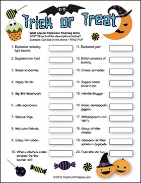 Trick or Treat game Sample page
