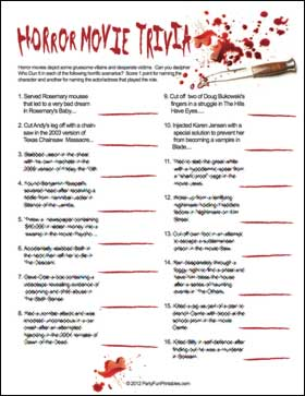 Horror Movie Trivia Game Sample page