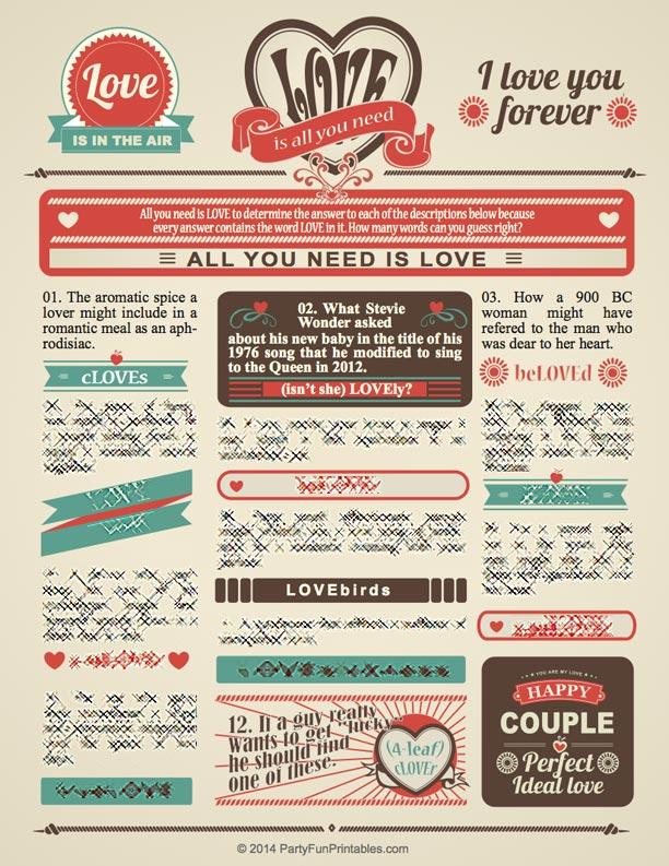 Vintage Love Trivia Word Game