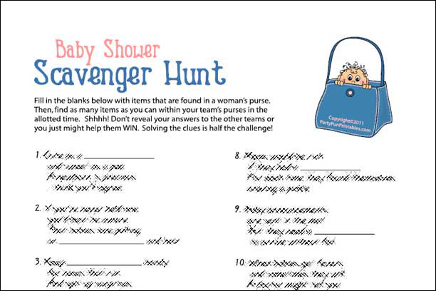 Baby Shower Scavenger Hunt Game
