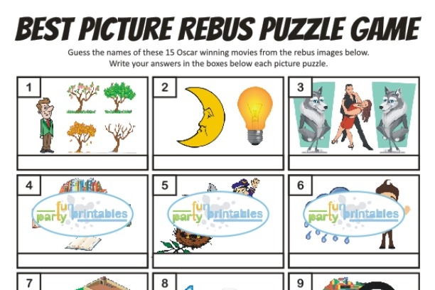 Printable Best Picture Rebus Puzzle Game