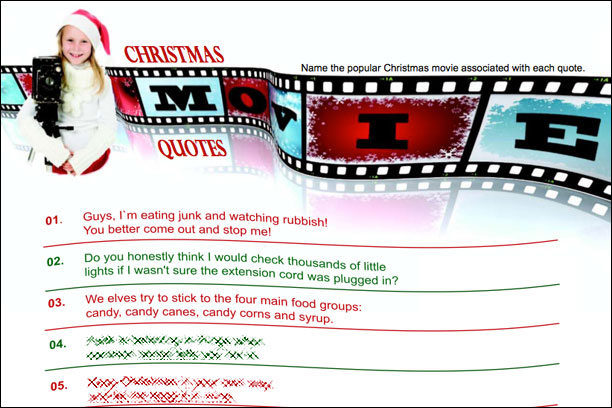 Christmas Movie trivia game