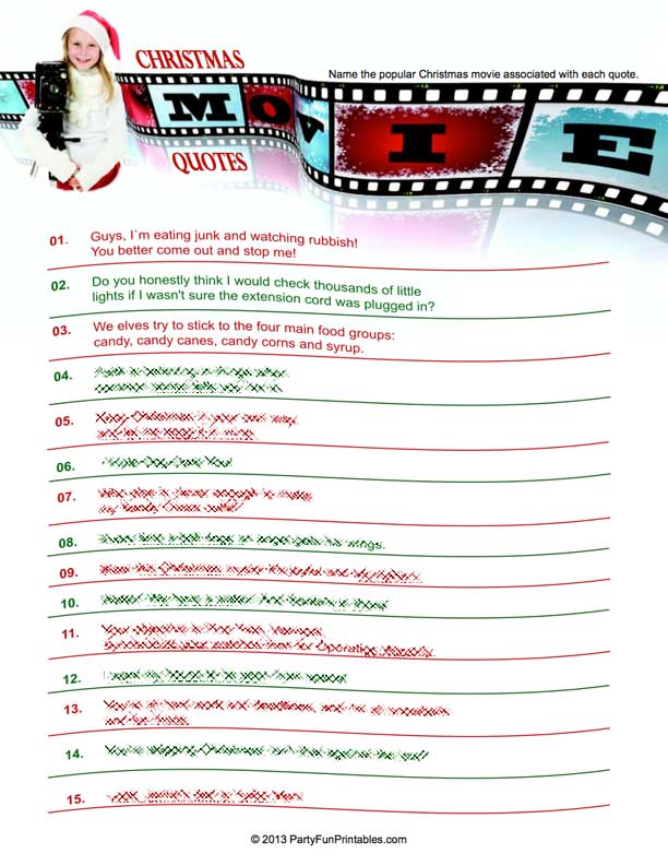 Christmas Movie Trivia Game - Which Movie Matches the Quote?