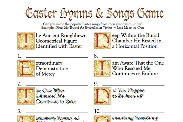Easter Hymns & Song game