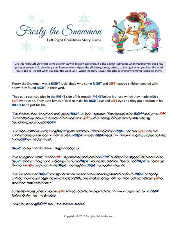 picture relating to Christmas Left Right Game Printable named Frosty the Snowman Remaining Instantly Tale Sport