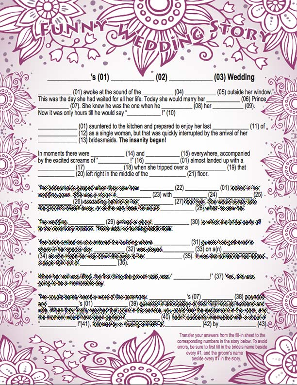 bridal shower mad libs wedding story