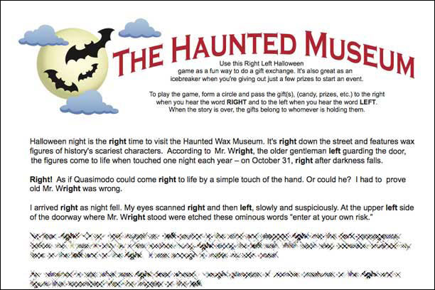 haunted museum left right game - Story About Halloween