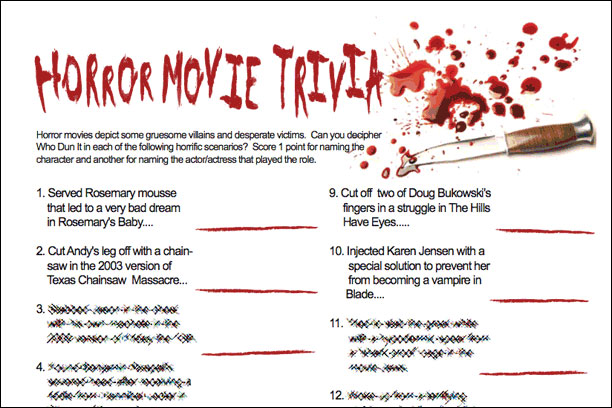 Horror Movie Trivia Game