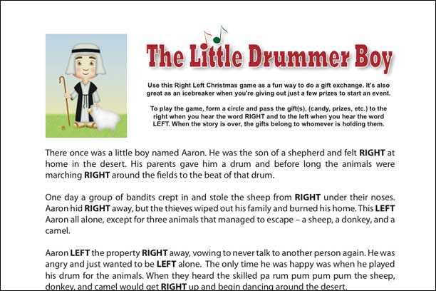 The Little Drummerboy Printable Game