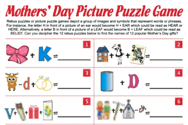Christmas Rebus Puzzles With Answers.Mother S Day Picture Puzzle Game
