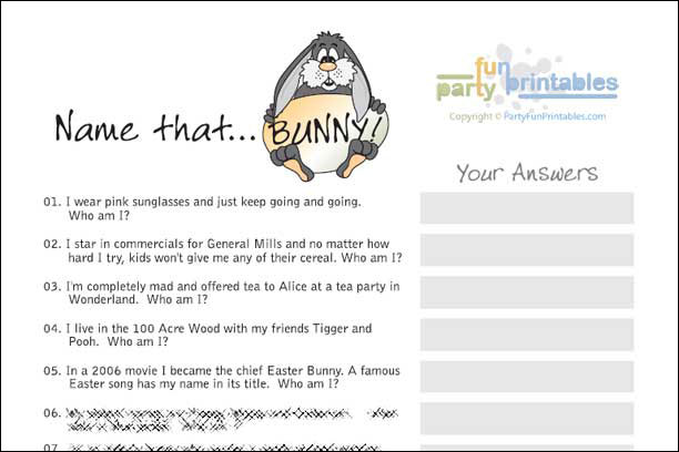 image regarding Easter Trivia Printable identified as Famed Rabbits Quiz - Status that Bunny
