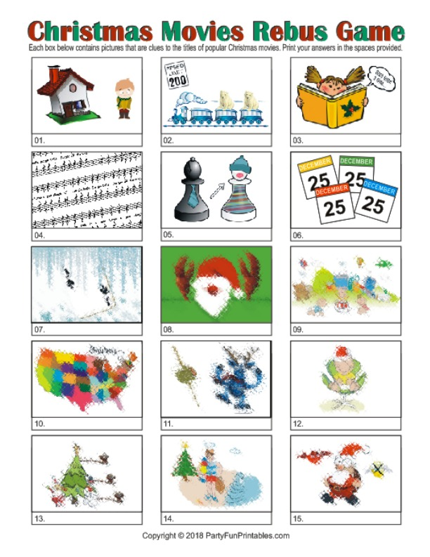 Christmas Rebus Puzzles With Answers.Printable Christmas Rebus Game Christmas Movie Picture Puzzles