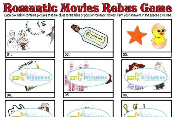 Printable Romantic Movies Rebus Game