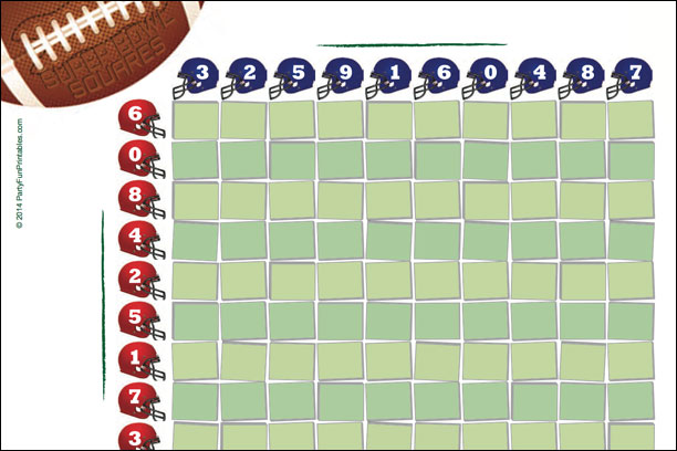 FREE Super Bowl Squares 100 grid to use for your NFL Super Bowl Pool