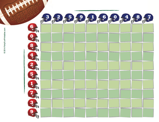 image regarding Super Bowl Party Games Printable known as No cost Printable Tremendous Bowl Squares 100 grid for your NFL Pool