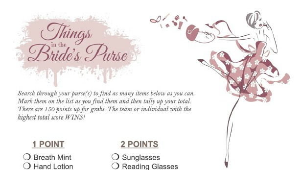 graphic regarding Bridal Shower Purse Game Free Printable known as Printable Bridal Shower Online games