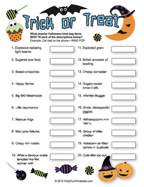 photograph relating to Printable Halloween Trivia identify Trick or Handle Sport! A Deliciously Exciting Halloween Trivia