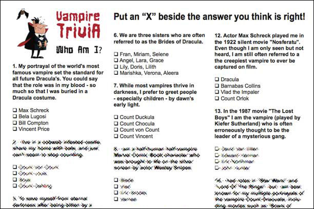 Vampire Trivia Who am I game