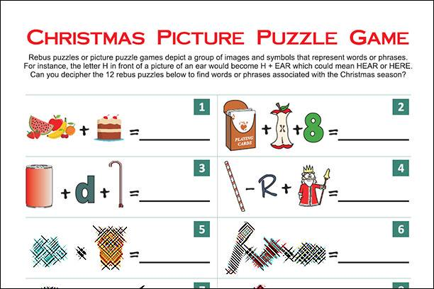 Christmas Rebus Puzzles With Answers.Christmas Picture Puzzle Game