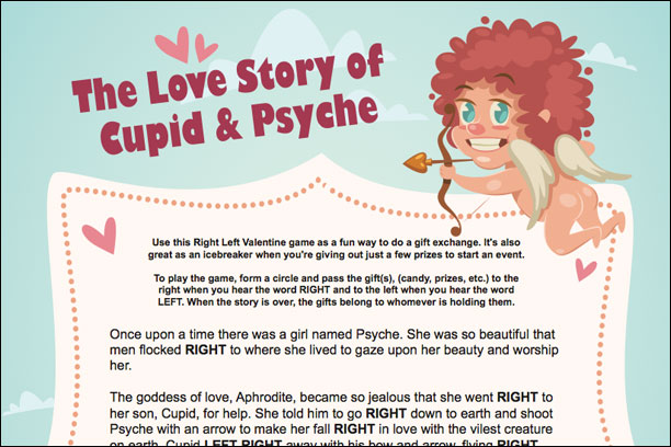 A Valentine Left Right Game The Love Story Of Cupid And Psyche