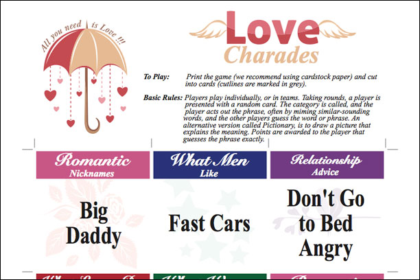 Printable Love Charades Game