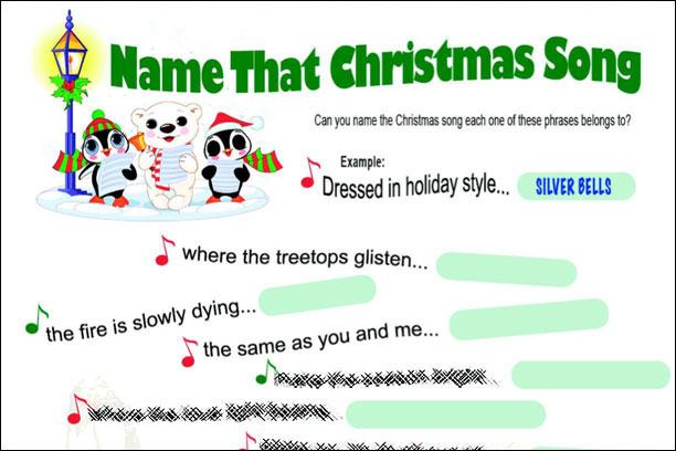 Christmas Carol Printable: Name That Christmas Song Game