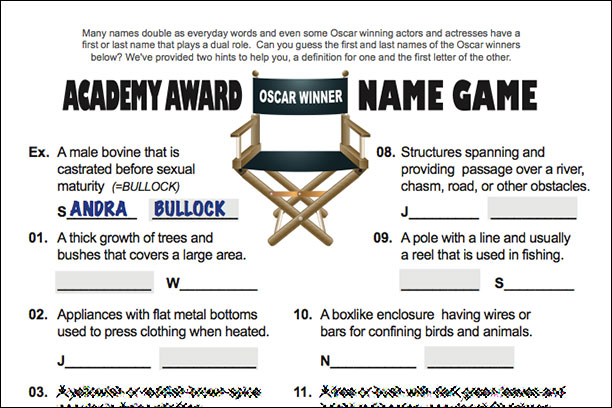 Academy Award Name Game