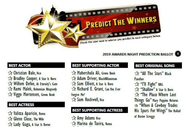 Printable 2019 Predict the Oscar Winners Game