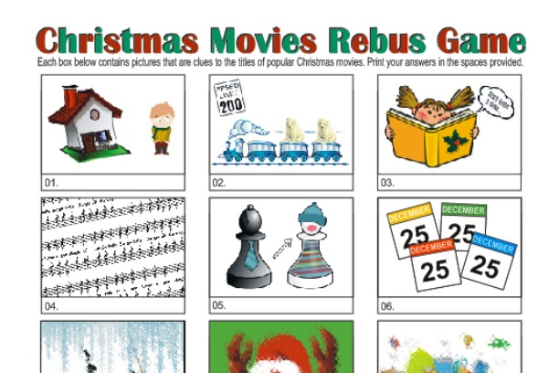 picture relating to Rebus Printable named Printable Xmas Rebus Video game: Xmas Video Think about Puzzles