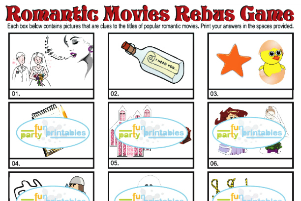 Printable Romantic Movies Rebus Game