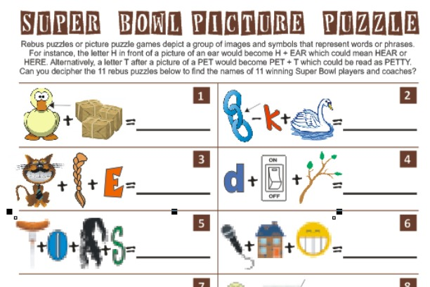 Printable Super Bowl Picture Puzzle Game