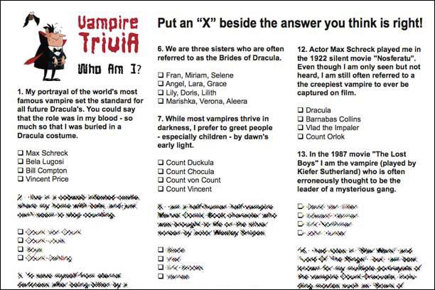 Vampire Trivia Game