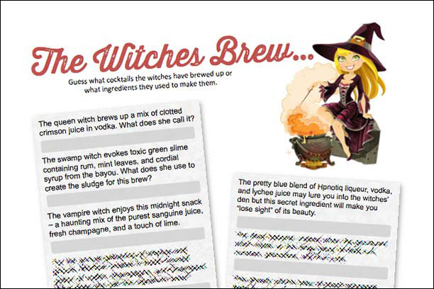 The WItches Brew, a Halloween Cocktail Party Game